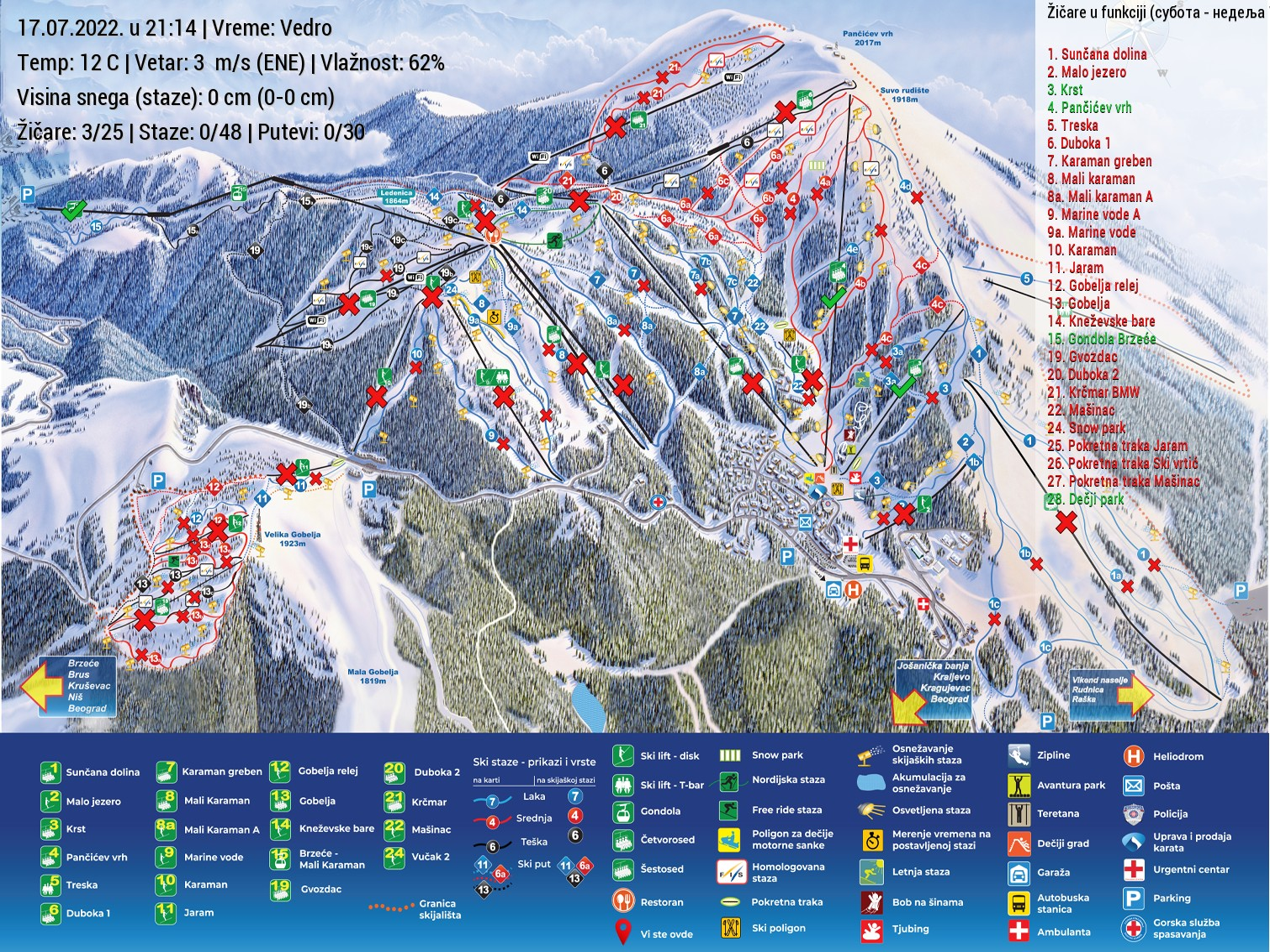 Live SKI mapa Kopaonika